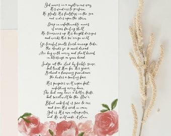 God moves in a mysterious way calligraphy print | Christian home decor | faith hymn wall art