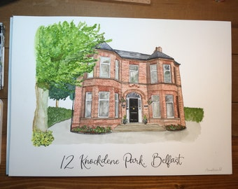 A3 House portrait, Custom Personalised Watercolour Painting of your home, church, wedding venue, house or building illustration