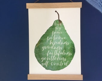 A4 Fruit of the spirit wall art print, watercolour pear with white hand lettered scripture