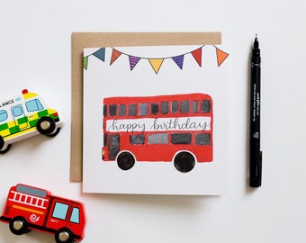 Red bus and bunting birthday card for boys