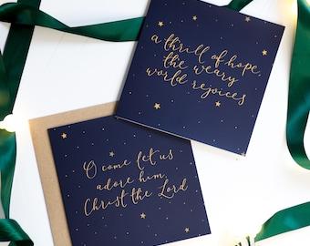 Christian Christmas card set | religious Christmas carol cards | o come let us adore him & a thrill of hope