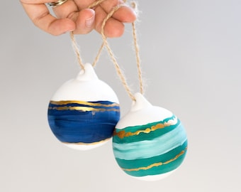 Christmas baubles | set of 2 hand painted delicate ceramic Christmas tree decorations | blue, green & gold ornaments