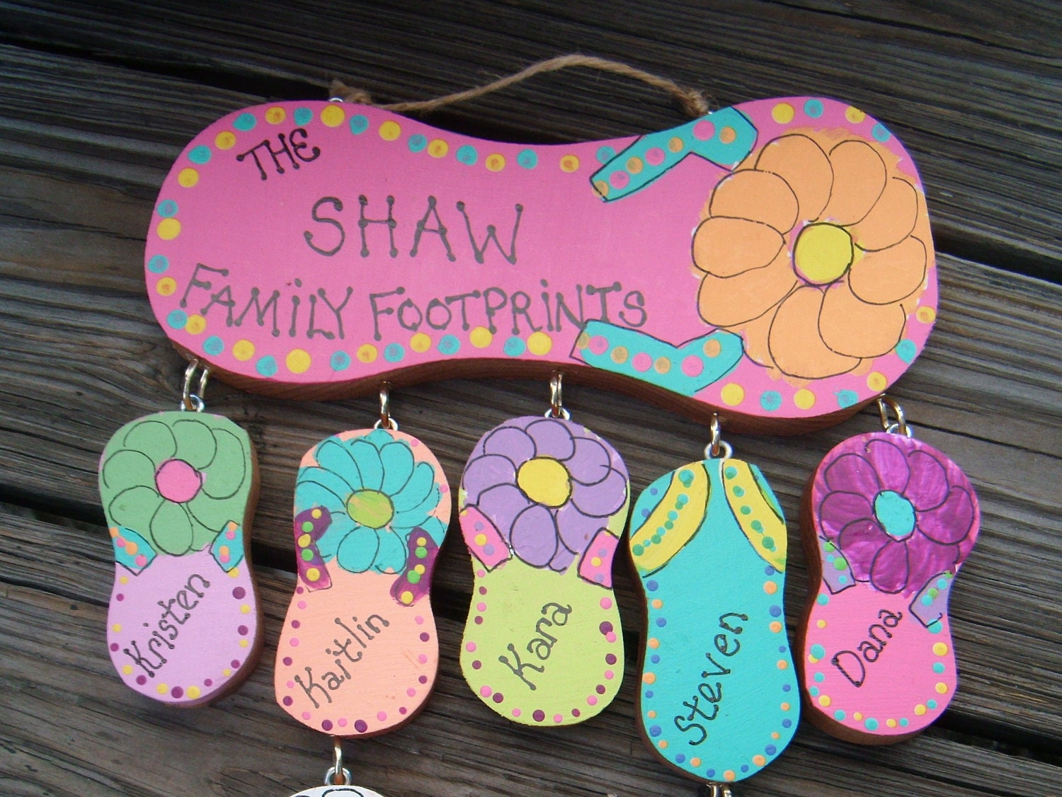 Wood Flip Flop Personalized Family Sign | Etsy
