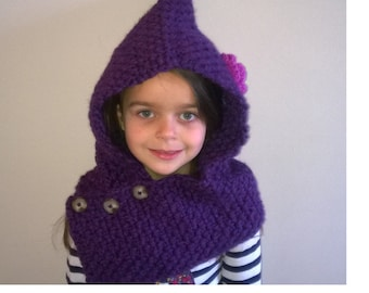 Crochet girls hooded cowl