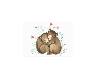 Postcard watercolor bears