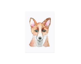 Postcard watercolor Fuchs