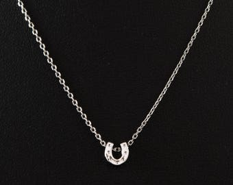 Dainty Necklace, Tiny Silver Horseshoe, Delicate Fine Chain, Lucky Charm Necklace