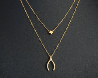 Gold Wishbone and Star Layered Necklace, Make A Wish Necklace, Dainty Necklace, Delicate Fine Chain, 16K Gold Plated