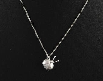 Dainty Necklace, Silver Ladybird Cubic Zirconia Charm, Delicate Fine Chain, Cute Ladybug Necklace