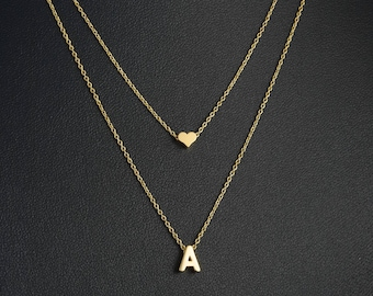 Gold Initial and Heart Layered Necklace, Dainty Letter Necklace, Monogram Necklace, Layered Initial Necklace, Delicate Fine Chain