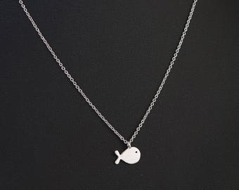 Dainty Necklace, Tiny Silver Whale Charm, Delicate Fine Chain, Cute Whale Necklace
