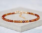 Hessonite Garnet Bracelet, Tiny Honey Brown Gemstones, Dainty Gemstone Stacking Bracelet, Sterling Silver or Gold Fill, January Birthstone