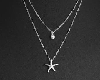 Layered Double Necklace, Dainty Silver Starfish and Pearl, Two Strand Necklace, Delicate Fine Chain