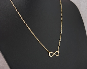 Dainty Infinity Necklace, Gold Infinity Charm, Delicate Fine Chain, 16K Gold Plated