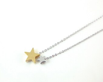 Dainty Two Star Necklace, Gold and Silver Stars, Delicate Fine Chain, Rhodium Silver