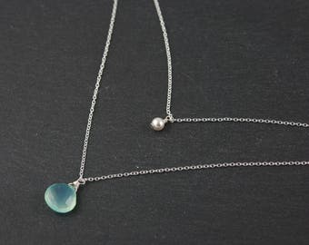 Aqua Chalcedony and Pearl Layered Necklace, Sterling Silver Two Strand Delicate Chain Necklace