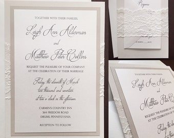 Layered Lace Wedding Invitation, Lace Wedding Invitation -LEIGH ANN