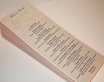 Lace Wedding Menu / Wedding Menu / Dinner Menu / Bridal Shower Menu / Lace Menus