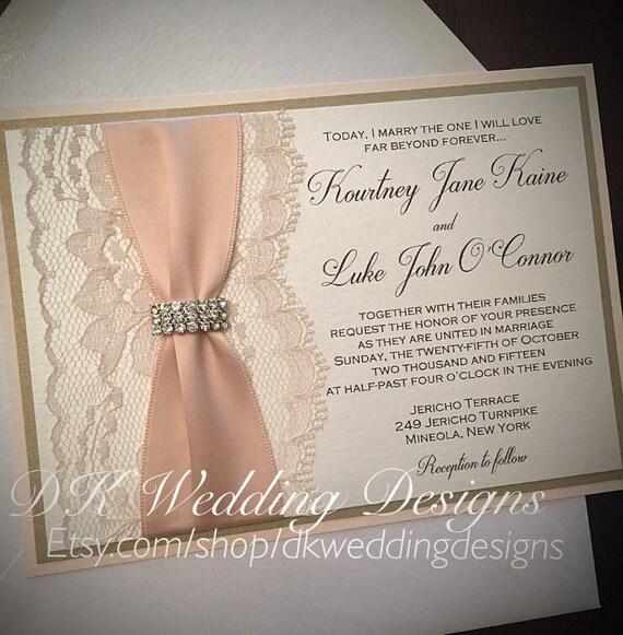 Blush Wedding Invitation Invite Lace And Gold Glitter KOURTNEY