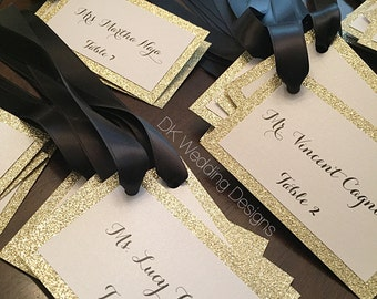 Glitter place card tags, glitter place cards, Gold glitter place cards, favor tags, glitter tags, glitter tags with ribbon
