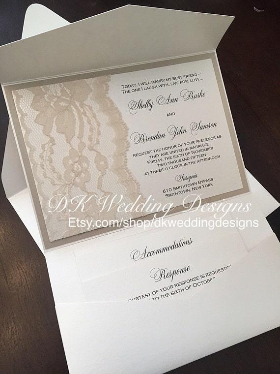 Lace Wedding Invite Invie Invitations Pocketfold SHELBY