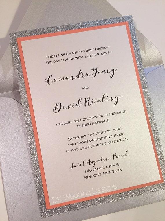 Glitter Wedding Invitation Coral and Silver Invitation  98b48c423610