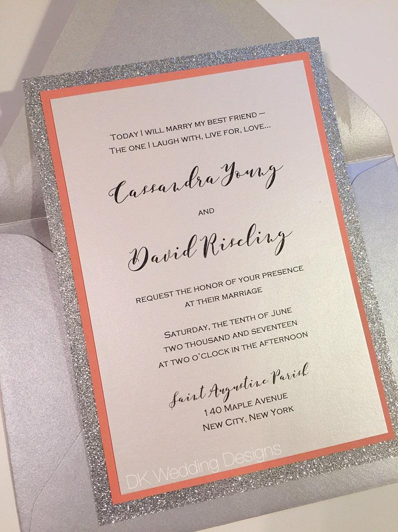 Glitter Wedding Invitation Coral and Silver Invitation | Etsy