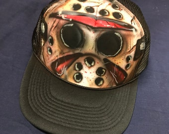 Jason Voorhees Friday the 13th Inspired Mesh Trucker Snapback Hat 535c939e36e