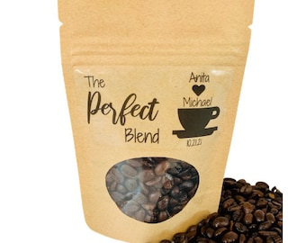 10 Personalized Labels + 10 Coffee Bags | Coffee Pouch Wedding Favor | 'The Perfect Blend'  or 'Love is Brewing' Coffee Pouch Favor
