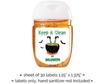 Halloween Hand Sanitizer Label | Sheet of 30 Stickers | Spooky Hand Sanitizer Sticker Witch and Cauldron