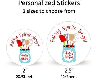 """Sheet of 20 2"""" or Sheet of 12 2.5"""" Personalized Christmas Cookie Sticker 