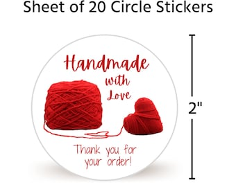 """20 2"""" Circle Stickers Handmade With Love 