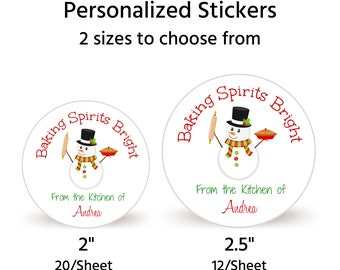 """Sheet of 20 2"""" or Sheet of 12 2.5"""" Personalized Christmas Cookie Stickers 