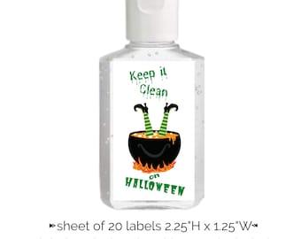 Halloween Hand Sanitizer Label | Sheet of 20 Stickers | Spooky Hand Sanitizer Sticker Witch and Cauldron