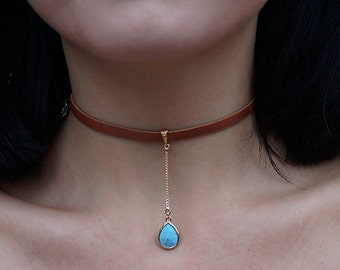 The Hanging Turquoise Choker (carmel brown)