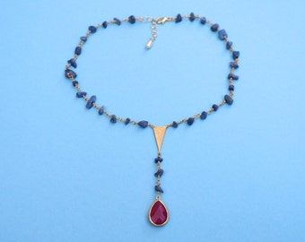 Lapis Ruby Rosary Necklace