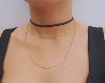 The 2 chain leather choker