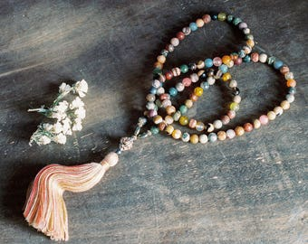 Beautiful gemstone mala necklace