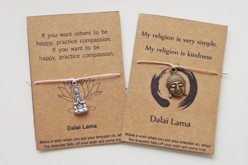 08 Buddha, Yoga Wish Bracelet, Friendship Bracelet, Dalai Lama, Guanyin,  Buddhism, Yoga Gifts, quote, party favor, Zen gifts, Buddha head