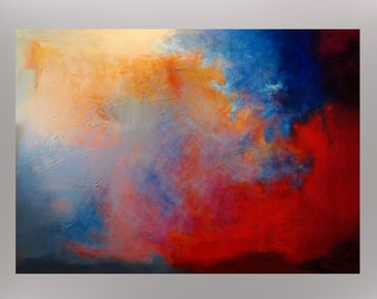 "Huge Original Abstract Textured Painting by Jagoda Lane - ""Global Warming"" -  48"" x 36"" x 1.6"""