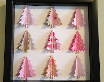 Pink Christmas Tree, 3D Paper art