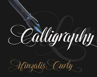 Calligraphy font | Hinzatis Curly digital font | INSTANT digital DOWNLOAD | single font file | Open Type Font (.otf)