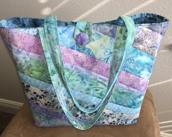 2b13e49f61 OOAK New Gift for Her Quilted Rainbow Colored Batik Shoulder Tote Travel Bag  Vacation Shopping Tote Take to Work Tote School Teacher Gym Bag