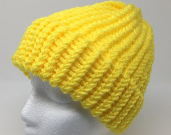 Yellow knit hat  b14b63369dc