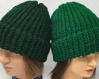 fd12208522c0bb Hunter Green Knit Hat Or Kelly Green Knit Hat, Green Beanie, Winter Hat,  Warm Hat, Knit Hat, Loom Knit Hat, Green Knit Cap, Unisex Hat