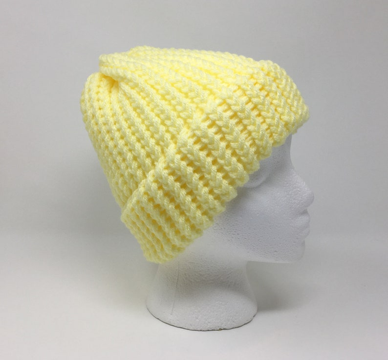 968c6fcc3923d8 Yellow Knit Hat Yellow Beanie Winter Hat Warm Hat Knit | Etsy