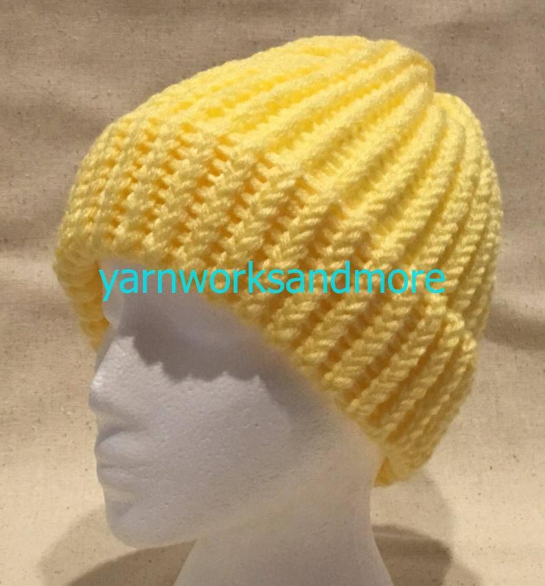bf2c242293978 Yellow Knit Hat Yellow Beanie Winter Hat Warm Hat Loom
