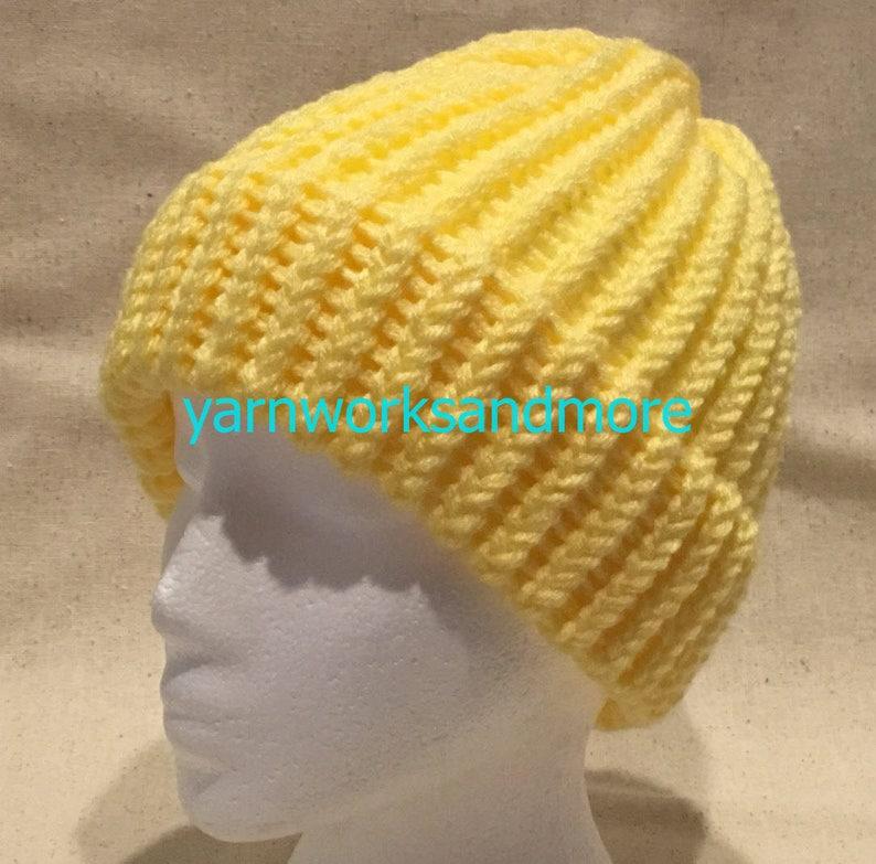 Acrylic Beanie yarnworksandmore Yellow Knit Hat Yellow Beanie Unisex Hat LEMON Yellow Hat Warm Hat Loom Knit Hat Winter Hat