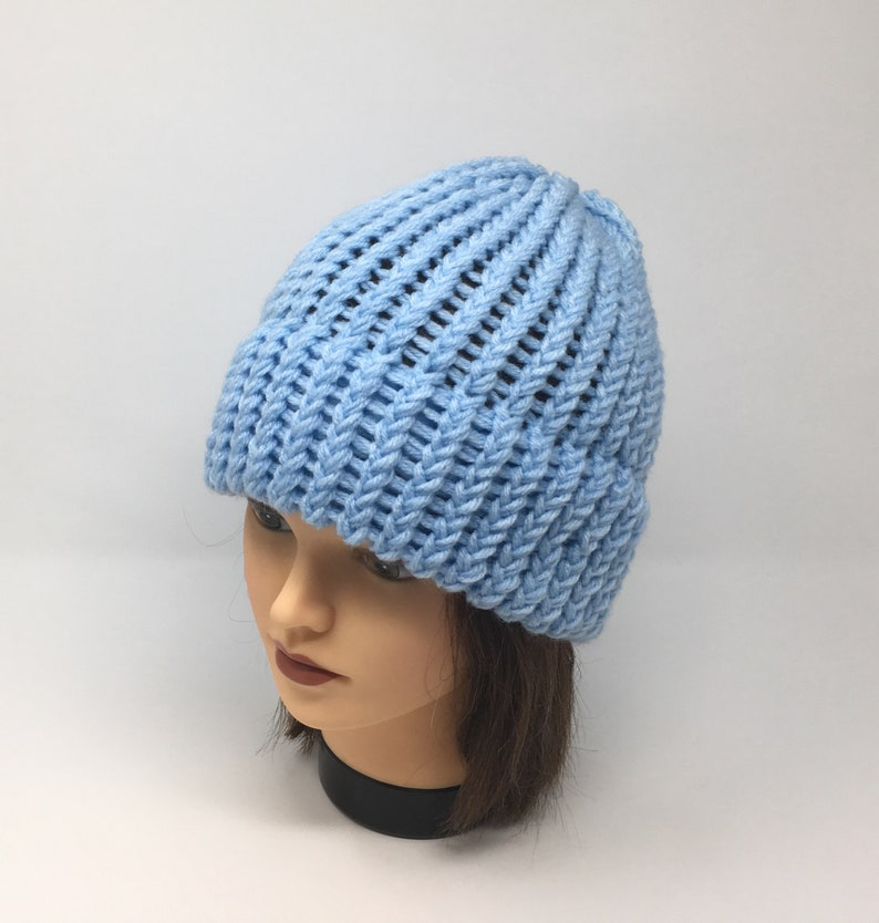eccf08333 Light Blue Knit Hat, Light Blue Beanie, Warm Hat, Winter Hat, Knit Hat,  Loom Knit Hat, Acrylic Hat, Unisex Hat, With Or Without Pom Pom