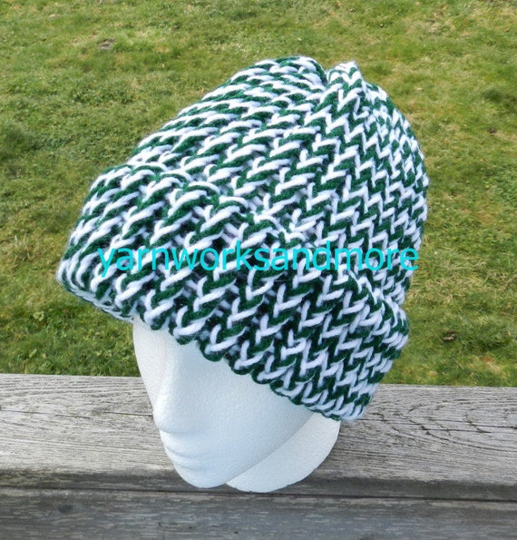Hunter Green And White Beanie Green And White Knit Hat  649cdf6f617